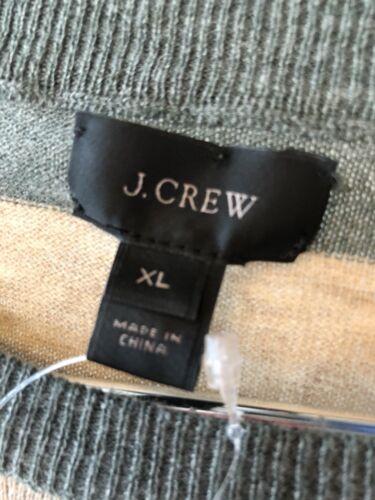 con bin de algodón y raya Nwt de cuello Ancho Suéter beige redondo Xl Men's J Gris f lana crew wFTx84XCq