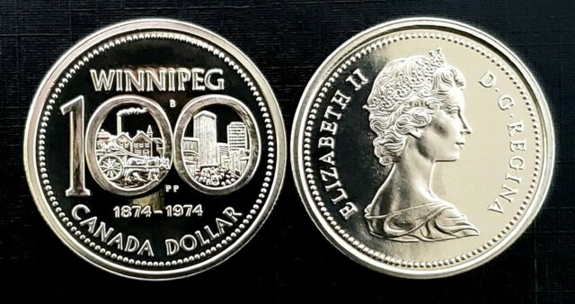 Canada 1974 Winnipeg Centennial Gem Proof Like Nickel Dollar!!