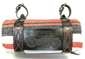 Motorcycle-Bedroll-Mexican-Blanket-with-handmade-engraved-leather-Strap-Harness