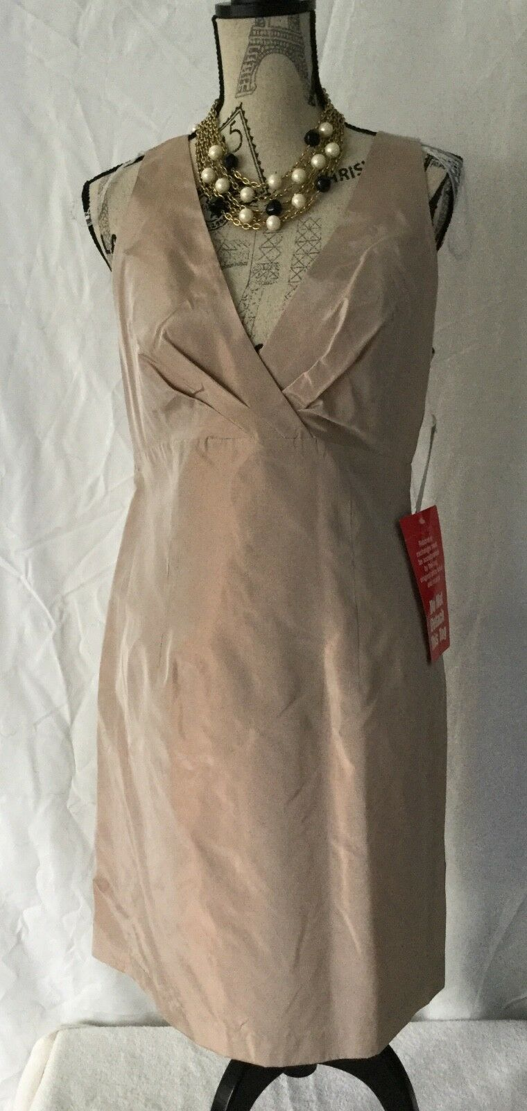 J. R. NITES by CALIENDO Empire DRESS in CARAMEL gold COLOR Sz 10 Sleeveless