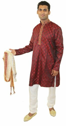 Burgundy Men Kurta Pajama Set New Indian Wedding Party Wear Sherwani Shawl