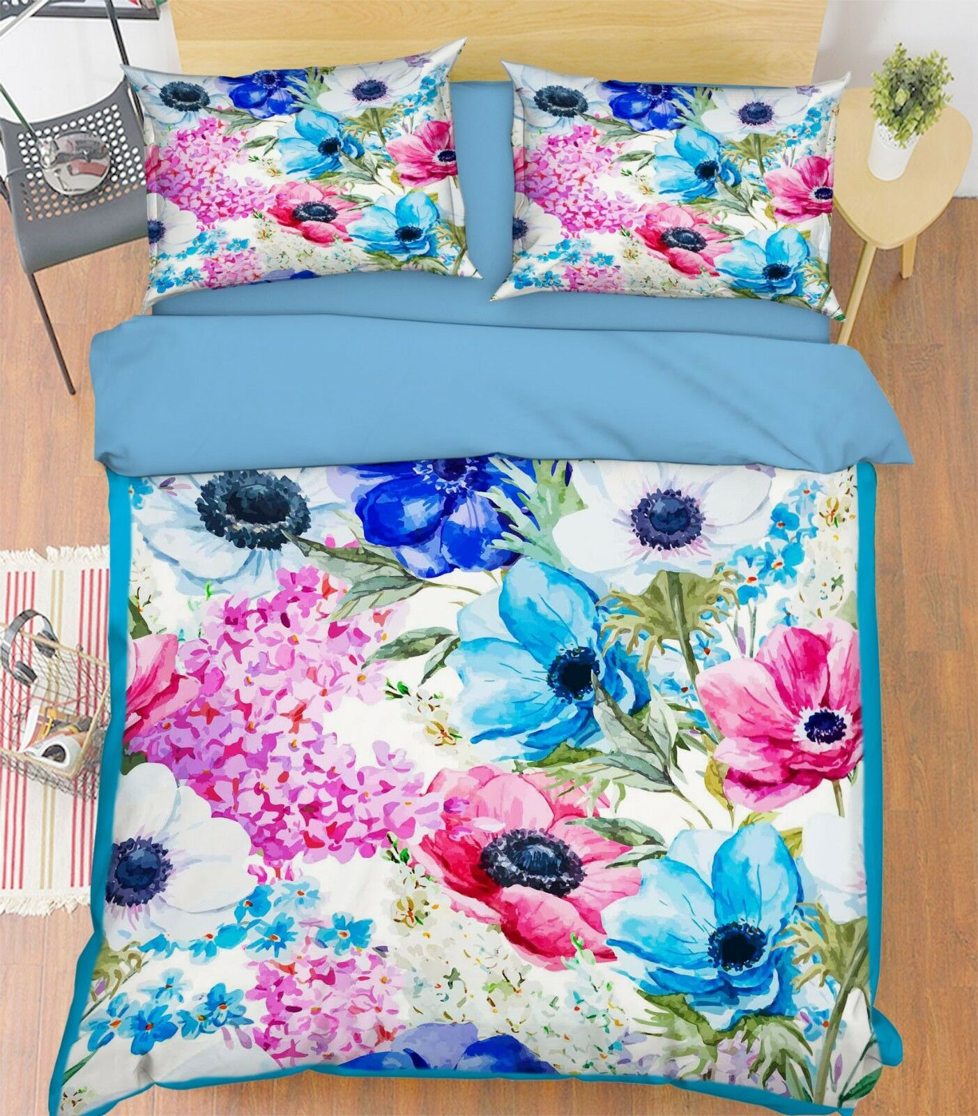 3D Paint Flowers 267 Bed Pillowcases Quilt Duvet Cover Set Single King UK Summer