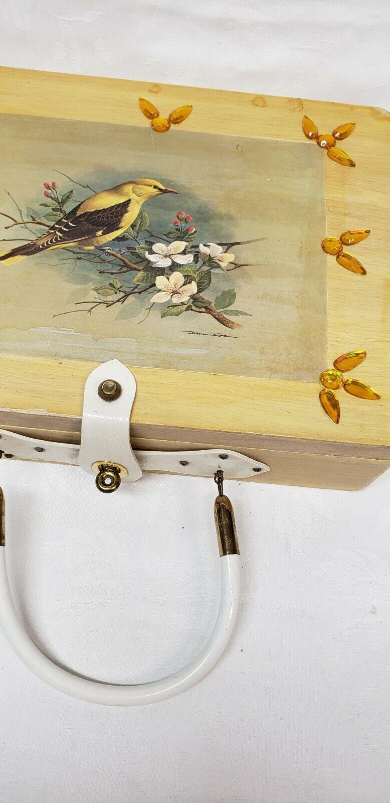 Vintage wood box purse top handle bag 60's Bird … - image 5