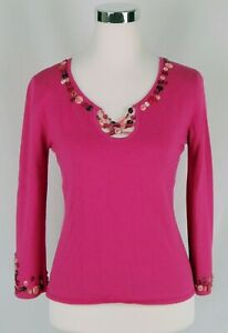 Peck-amp-Peck-Hot-Pink-Button-Decal-3-4-Sleeve-V-Neck-Light-Sweater-Top-Size-Small