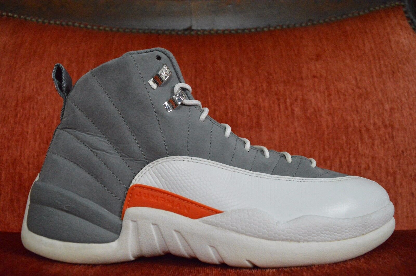 Nike Air Jordan XII 12 Retro Cool Grey/White-Orange 2018 130690-012 Comfortable New shoes for men and women, limited time discount