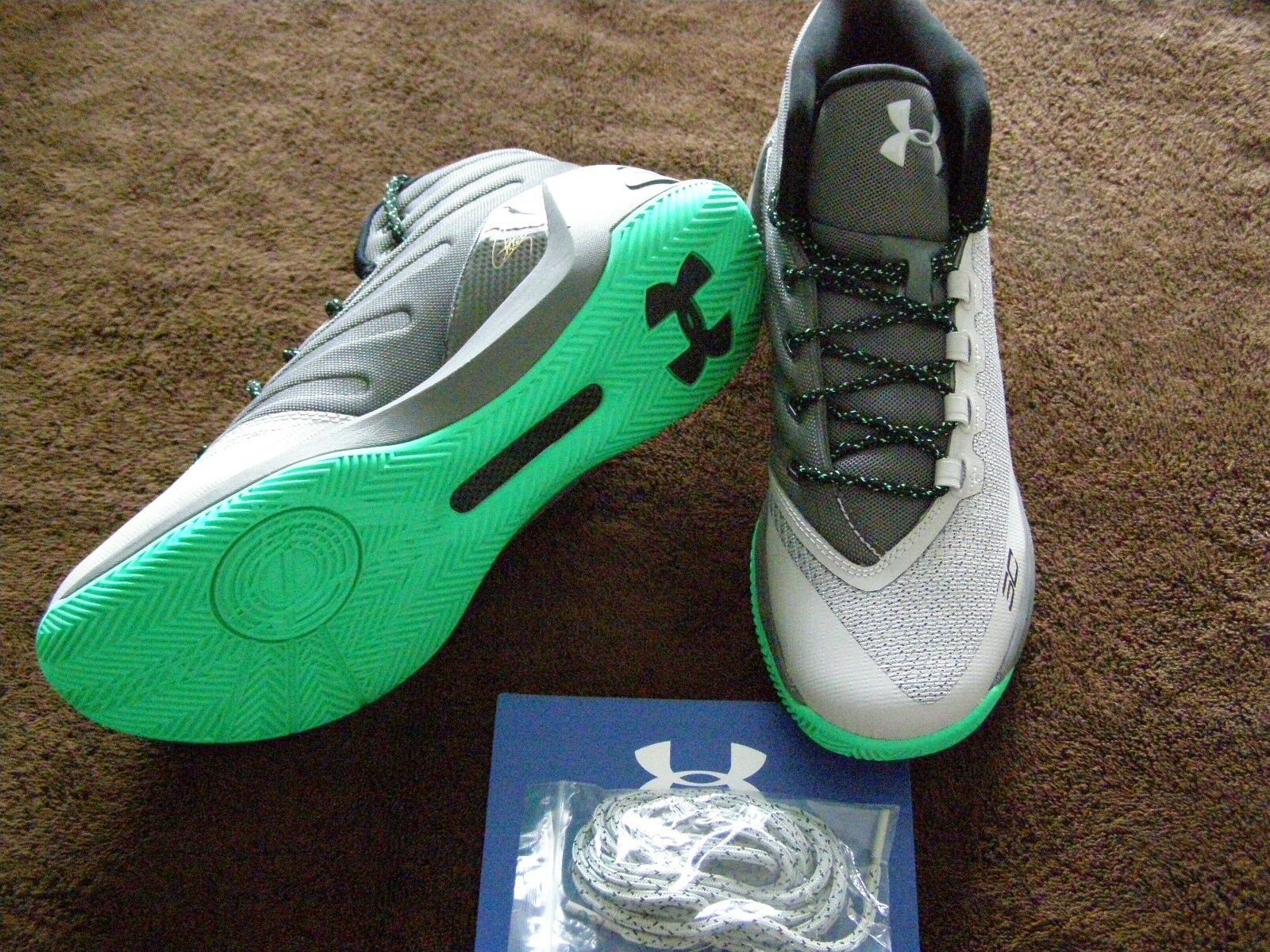 UNDER ARMOUR CURRY 3  MEN'S SNEAKERS SIZE 10 GREEN/GREY BRAND NEW