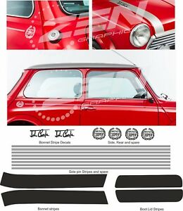 Austin-Rover-Mini-Classic-Cooper-bonnet-side-pin-stripes-crests-stickers-Decals