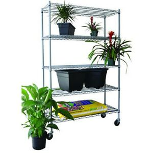 5 tier outdoor wire shelving rack 48 x 18 x 72 nsf. Black Bedroom Furniture Sets. Home Design Ideas