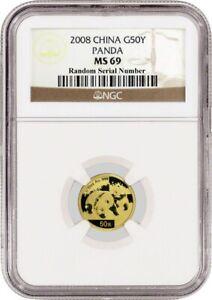 2008 50 Yuan People's Republic Of China 1/10 oz .999 Chinese Gold Panda NGC MS69