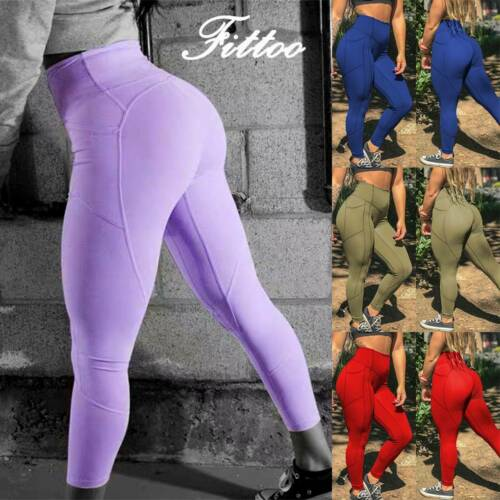 Womens Yoga Gym Anti-Cellulite Compression Leggings Push Up Sports Fitness Pants