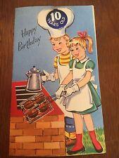 """Vintage Birthday Card """"Happy Birthday"""" Numer Ten Button NEW w/ envelope"""