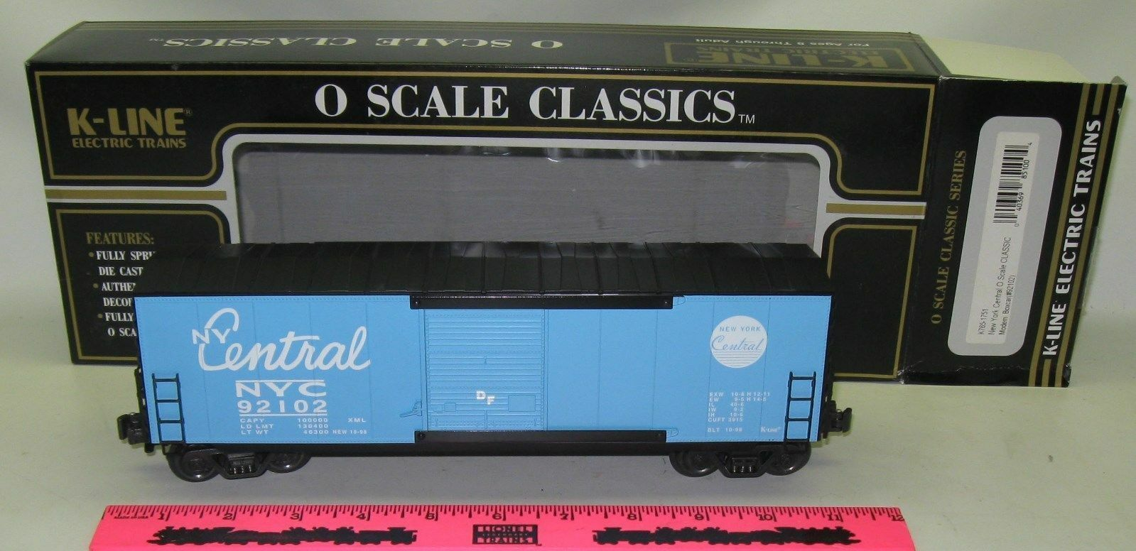 New K-Line K765-1751 New York Central O scale classic modern Boxcar ()