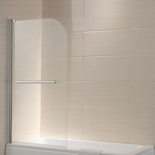180° Pivot Bath Shower Screen 6mm Tempered Glass Framed Over Panel with Handle