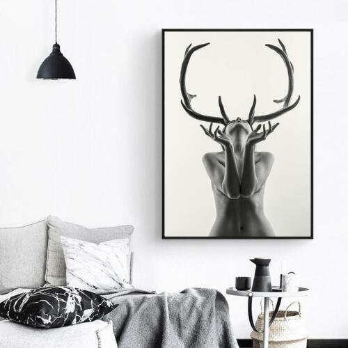 Large Black and White Canvas Wall Photography Nude Model with Antlers