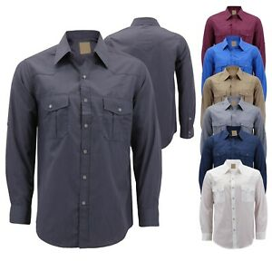 Men-s-Casual-Western-Pearl-Snap-Button-Down-Long-Sleeve-Cowboy-Dress-Shirt