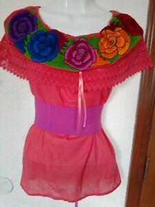 Mexican Blouse Top off shoulder cotton gauze Boho 5 de Mayo