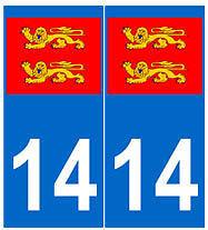 Autocollant plaque immatriculation auto d/épartement 14 Normandie Calvados