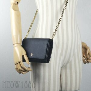2d3835d19 Image is loading Tory-Burch-EMERSON-Robinson-Black-Saffiano-Crossbody-Chain-