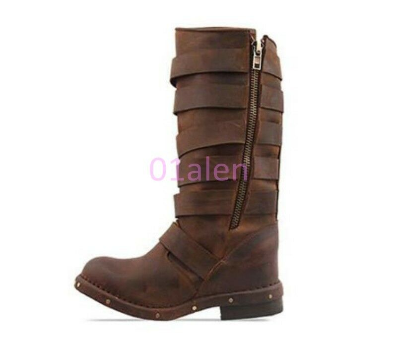 HOT Womens Western Cowboy Multi Buckles Belt Vintage Retro Mid Calf Boots Riding