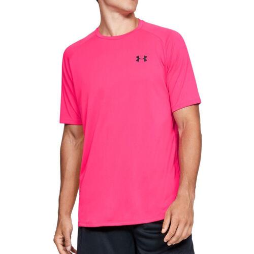 Under Armour UA HeatGear Tech 2.0 Mens T Shirt Pink Sports Training Gym Tee
