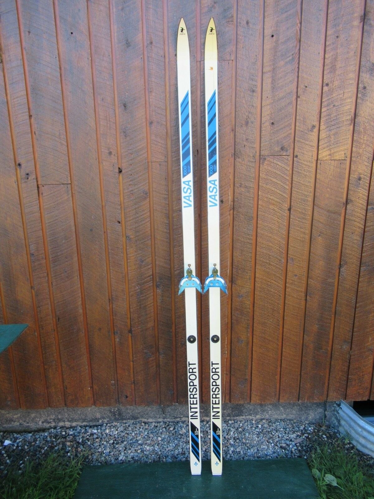 GREAT OLD 82  Wooden Skis With Original Weiß and Blau Finish and Bindings