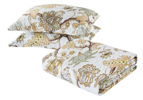 All American Collection New 3pc Printed Modern Floral Bedspread Coverlet Set