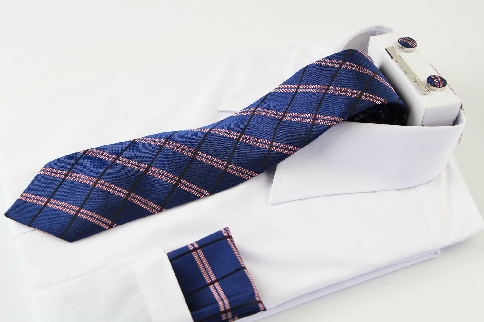 Mens Navy, Black & Red Checkered Matching Neck Tie, Pocket Square, Cuff Links