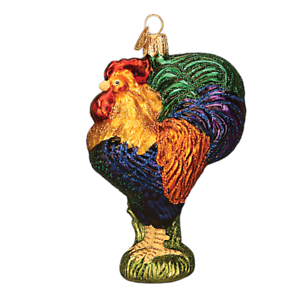 Old-World-Christmas-HEIRLOOM-ROOSTER-16092-X-Glass-Ornament-w-OWC-Box