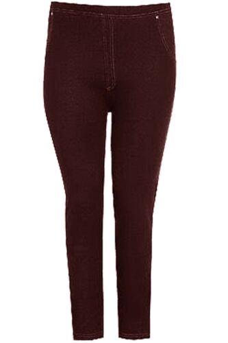 Womens Ladies Elasticated Back Pockets Full Length Denim Look Jeggings Leggings