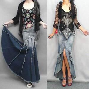 3ab43a4cdc026 Vintage Women Jeans Gradient Blue Denim Fish Tail Slim Maxi Mermaid ...