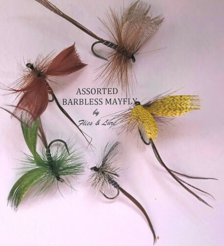 3,4 or 6 Trout Fly Fishing BARBLESS DRY Flies ASSORTED MAYFLY Multi-hook size
