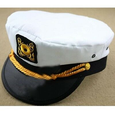 NEW Men & Women's White Yacht Captain Skipper Sailor Boat Cap Hat Costume W