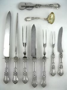 Sterling-Gorham-HENRY-II-9-piece-carving-set-1900-with-vermeil-gravy-ladle