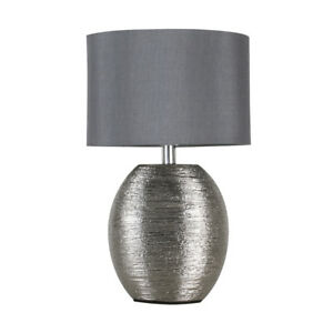 1daf90641b9e Image is loading Modern-Textured-Chrome-Ceramic-Table-Lamp-Grey-Cotton-