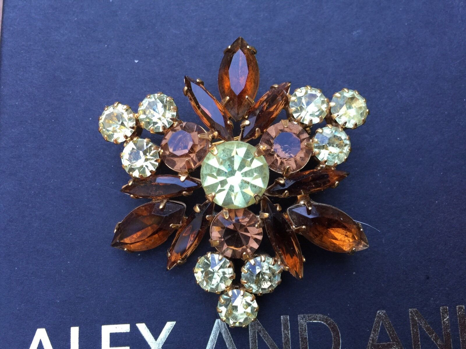 3252d49eafc NEW ALEX and ANI SIGNED VINTAGE 66 Amber Topaz SWAROVSKI Crystal Brooch PIN