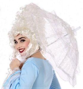 OMBRELLE-Dentelle-BLANCHE-Accessoire-deguisement-Femme-Marquise-Mariage-NEUF