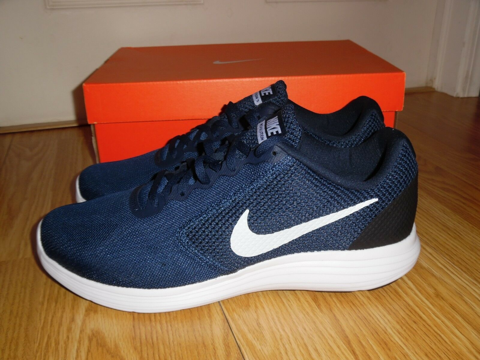 4ad2a929ab96 Nike Revolution 3 Men s Running Shoe Color Midnight Navy White Size ...