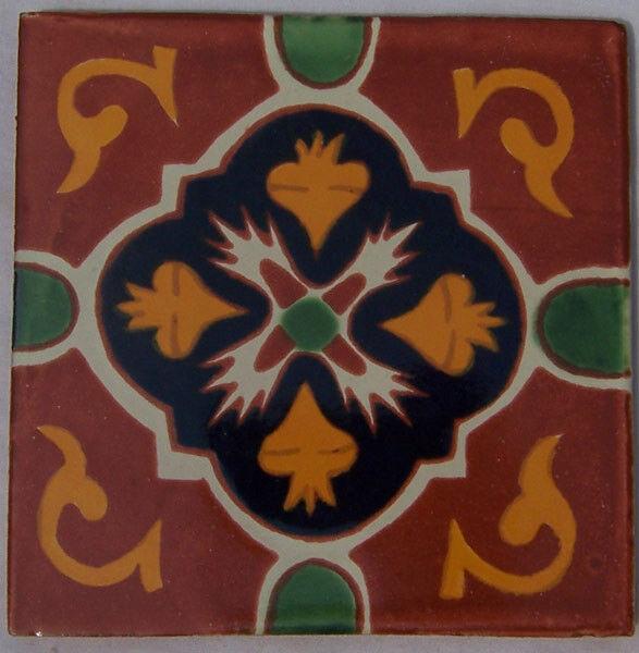 C215- Mexican Handmade Talavera Clay Tile Folk Art 4x4