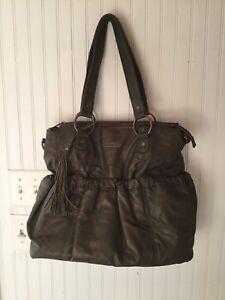 82451fec35b31 Wendy Bellissimo Vegan Faux Leather Diaper Bag Brown Bomber Jacket ...