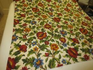 2211-RICH-BRIGHT-FLORAL-on-TEXTURED-Home-Decor-COTTON-FABRIC-45-034-x-7-7-8-Yds