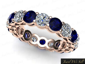 3-40Ct-Round-Sapphire-Diamond-Gallery-Shared-Eternity-Band-Ring-18k-AAAA-F-VS2