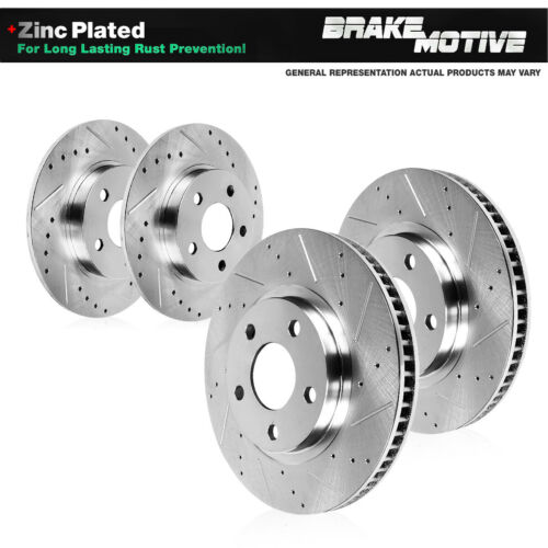 Front and Rear Drilled Slotted Brake Rotors For 2014 2015 2016 Acura MDX
