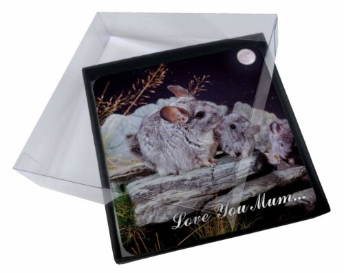 4x Moonlight Chinchillas 'Love You Mum' Picture Table Coasters Set in, ACH1lymC