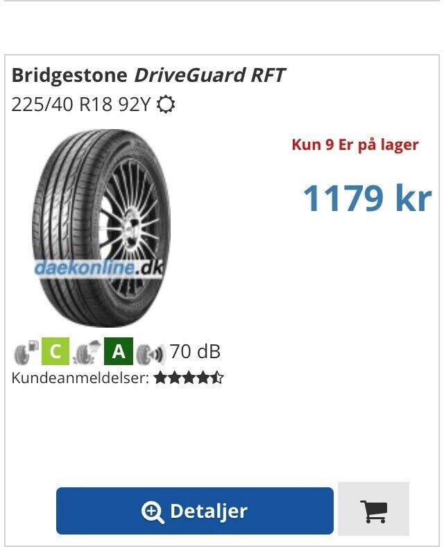 Sommerdæk, Bridgestone, 225 / 40 / R18