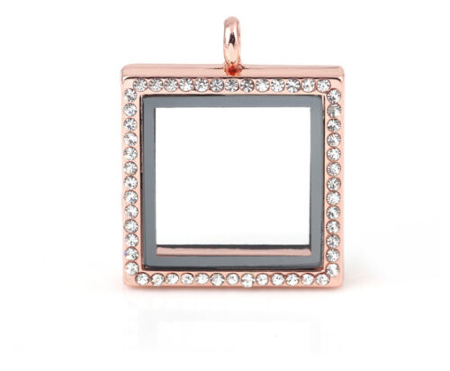 Living Memory Floating Charms Glass Square Gift Crystal Locket Pendant Necklace