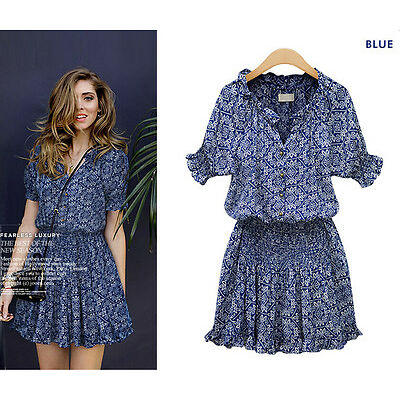 Women Short Sleeve Print Flare Dress Sleeve Short Casual Summer Dresses