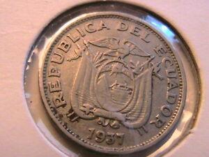 1937 Ecuador 20 Centavos XF Lustrous White South America 20C Twenty Cents Coin