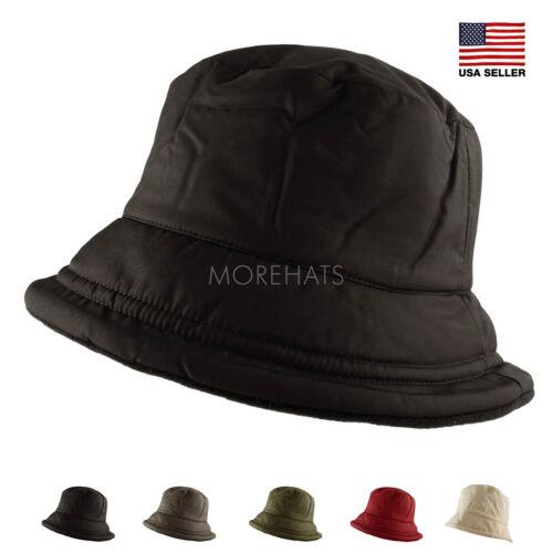 Fleece Lined Thick Soft Warm Fall Winter Bucket Cap Travel Packable Fold Hat