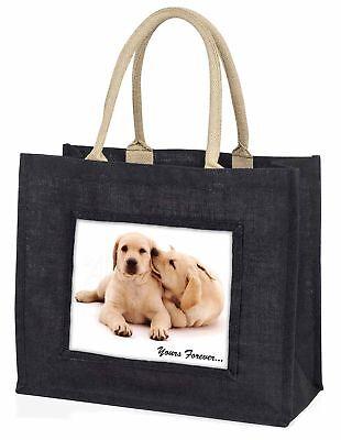 gelb Labrador Hund  dir für immer  große schwarze Einkaufstasche Weihnachten,