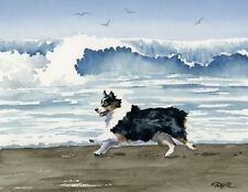 Australian Shepherd At The Beach Dog Watercolor 8 x 10 Art Print by Artist Djr